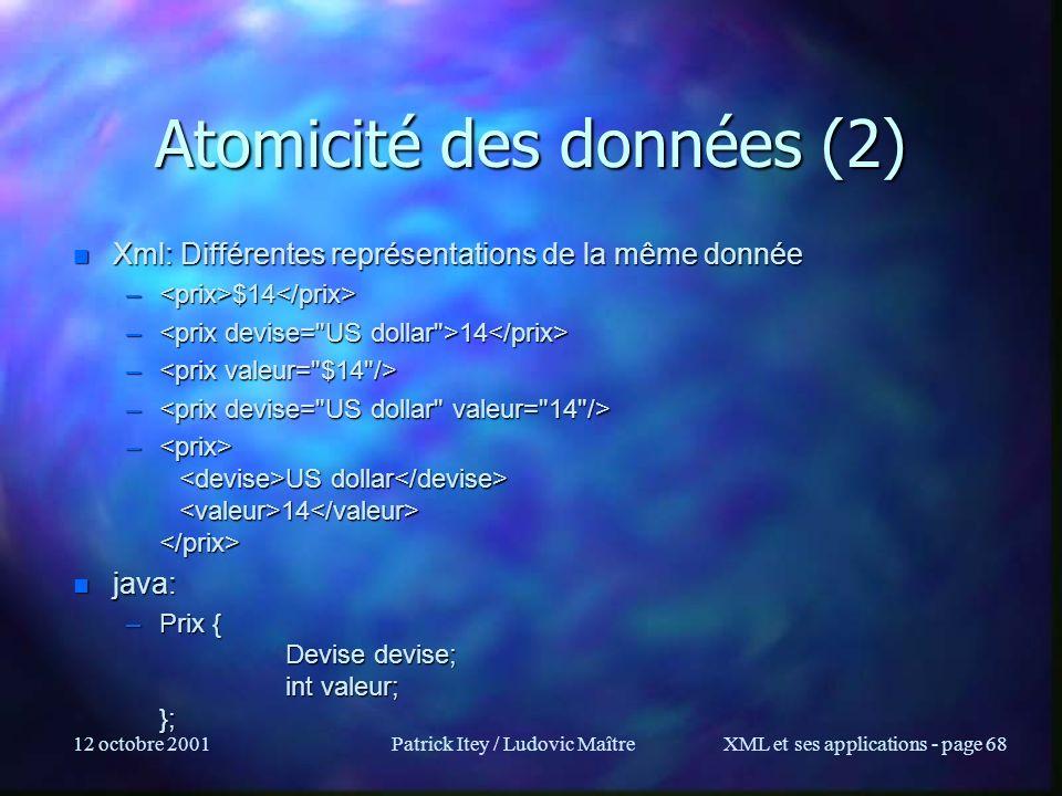 12 octobre 2001Patrick Itey / Ludovic MaîtreXML et ses applications - page 68 Atomicité des données (2) n Xml: Différentes représentations de la même