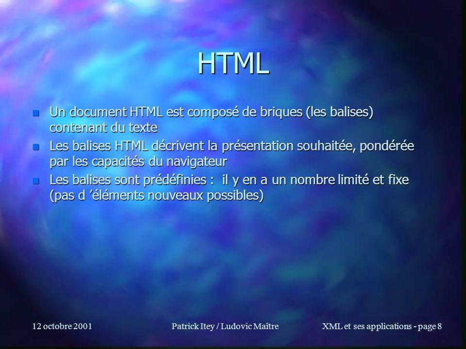 12 octobre 2001Patrick Itey / Ludovic MaîtreXML et ses applications - page 169 DOM Exemple /* Exemple avec le parser xml dIbm (XML4J) - SimpleParse.java */ import org.w3c.dom.Document; import com.ibm.xml.parser.Parser; import java.io.FileInputStream; public class SimpleParse { public static void main(String[] argv) { public static void main(String[] argv) { try { try { // Open specified file.