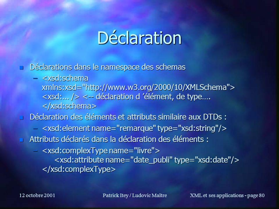 12 octobre 2001Patrick Itey / Ludovic MaîtreXML et ses applications - page 80 Déclaration n Déclarations dans le namespace des schemas – – n Déclarati