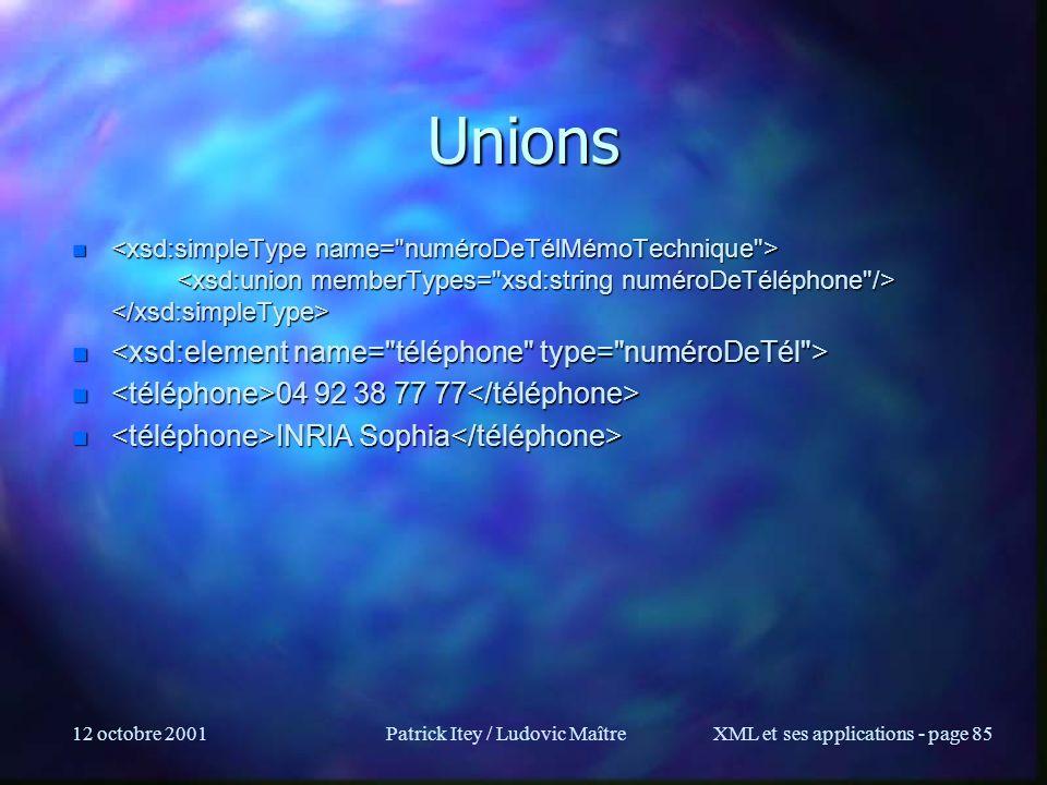 12 octobre 2001Patrick Itey / Ludovic MaîtreXML et ses applications - page 85 Unions n n n 04 92 38 77 77 n 04 92 38 77 77 n INRIA Sophia n INRIA Soph