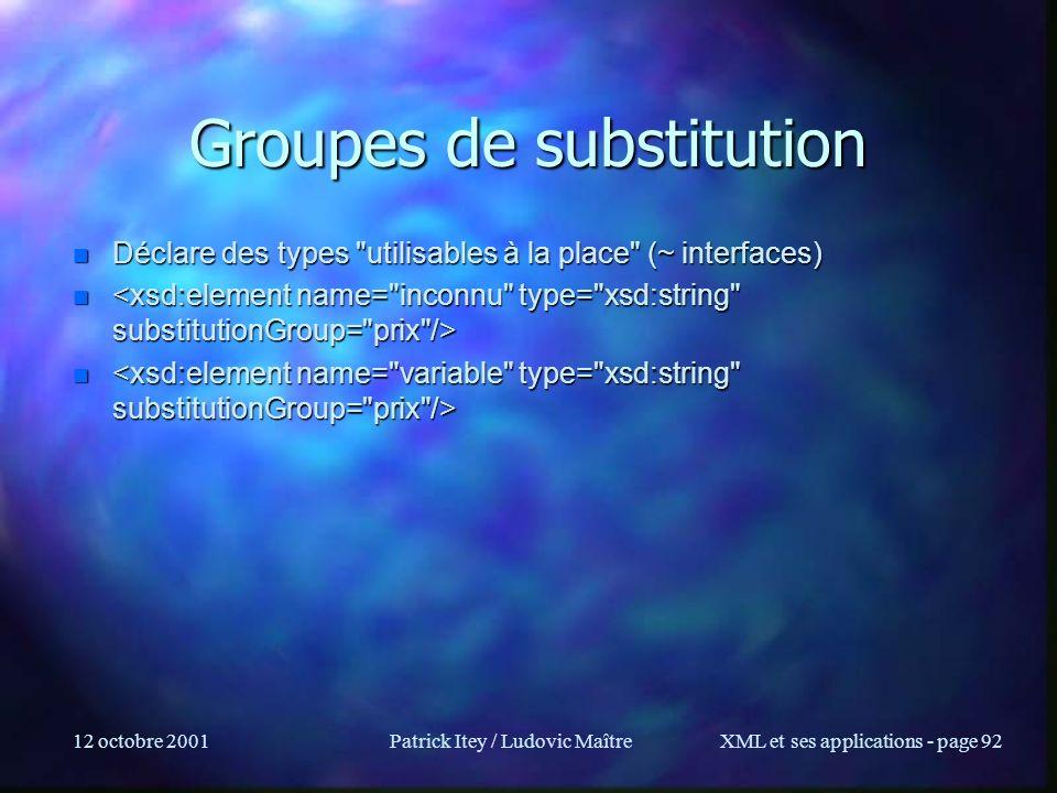 12 octobre 2001Patrick Itey / Ludovic MaîtreXML et ses applications - page 92 Groupes de substitution n Déclare des types