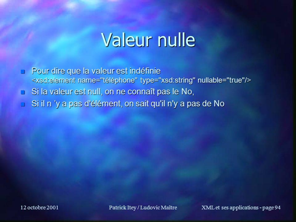 12 octobre 2001Patrick Itey / Ludovic MaîtreXML et ses applications - page 94 Valeur nulle n Pour dire que la valeur est indéfinie n Pour dire que la