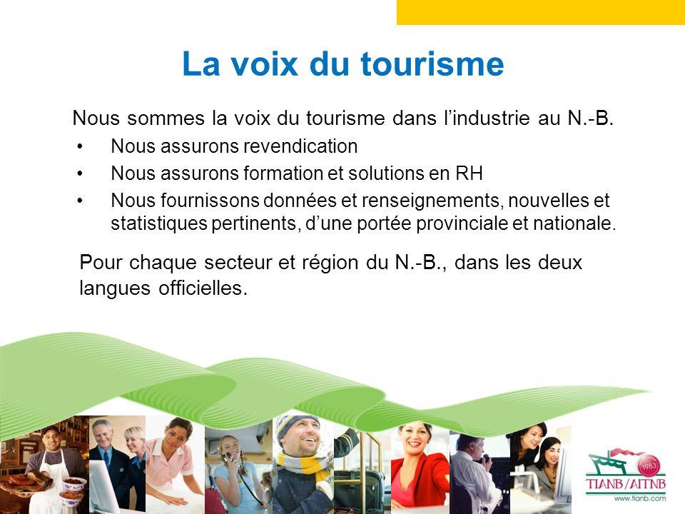 La voix du tourisme Nous sommes la voix du tourisme dans lindustrie au N.-B.