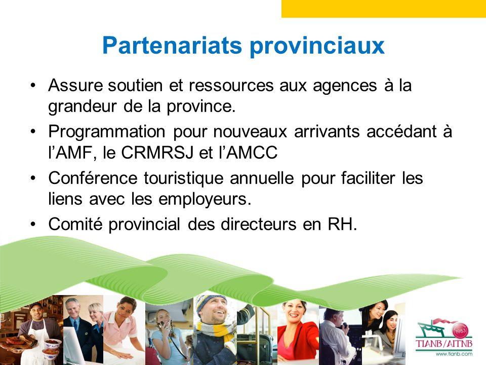 Partenariats provinciaux Assure soutien et ressources aux agences à la grandeur de la province.