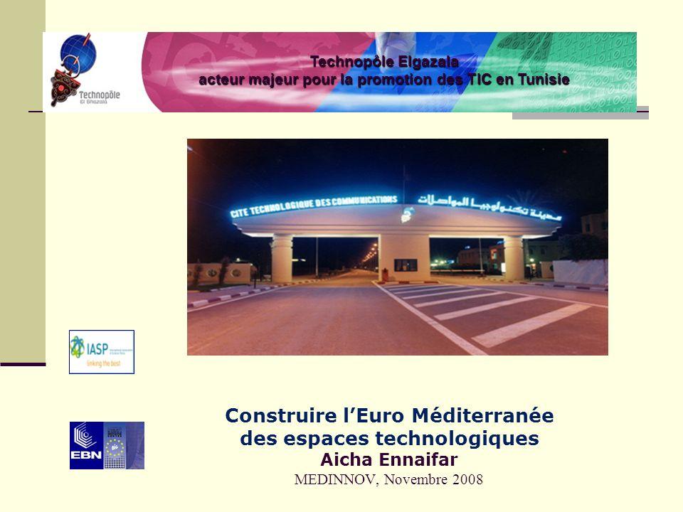 Construire lEuro Méditerranée des espaces technologiques Aicha Ennaifar MEDINNOV, Novembre 2008 Technopôle Elgazala acteur majeur pour la promotion des TIC en Tunisie