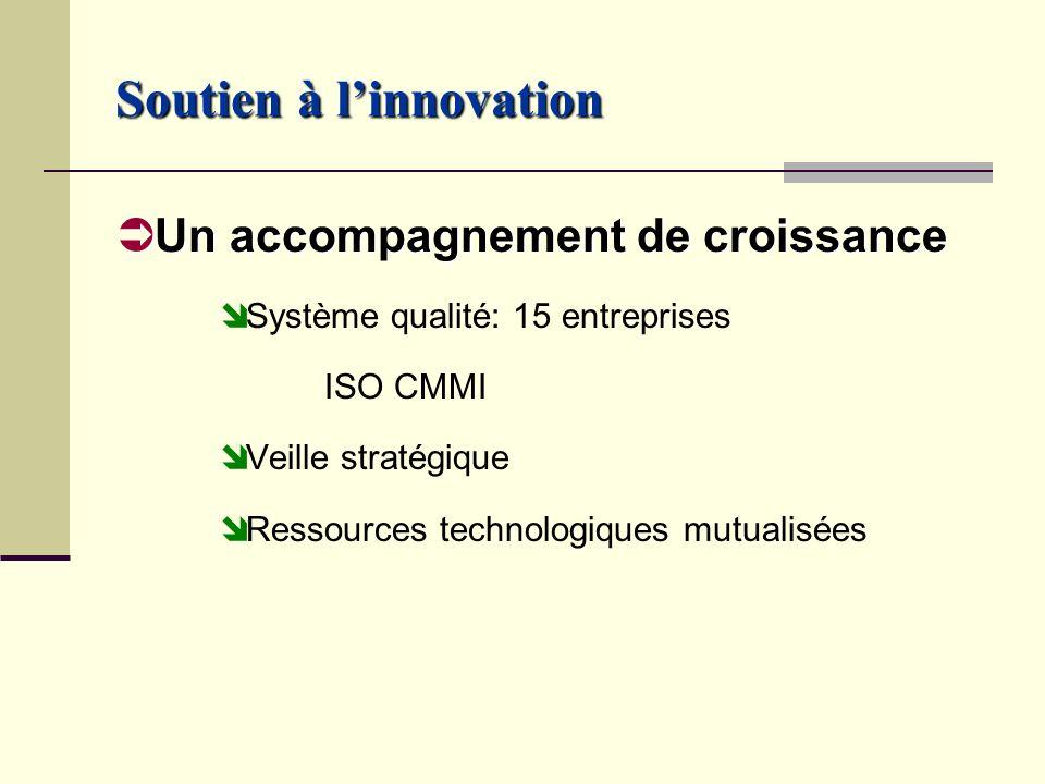 Soutien à linnovation Un accompagnement de croissance Un accompagnement de croissance Système qualité: 15 entreprises ISO CMMI Veille stratégique Ressources technologiques mutualisées
