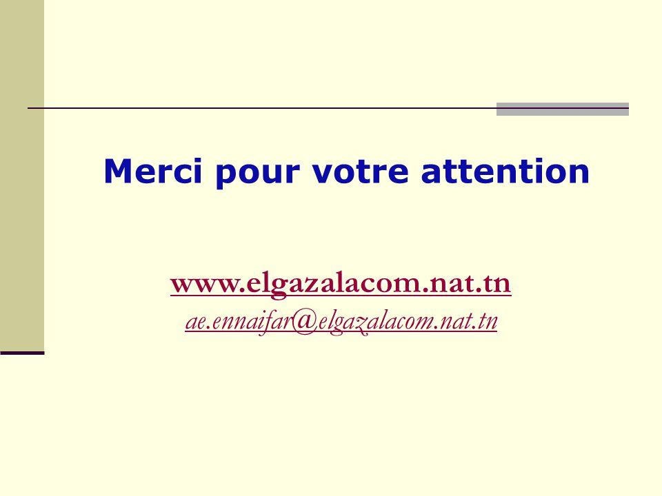 www.elgazalacom.nat.tn ae.ennaifar@elgazalacom.nat.tn Merci pour votre attention