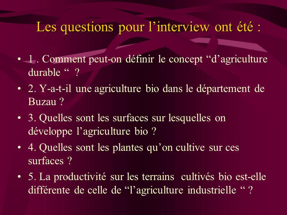 Les questions pour linterview ont été : 1. Comment peut-on définir le concept dagriculture durable ? 2. Y-a-t-il une agriculture bio dans le départeme