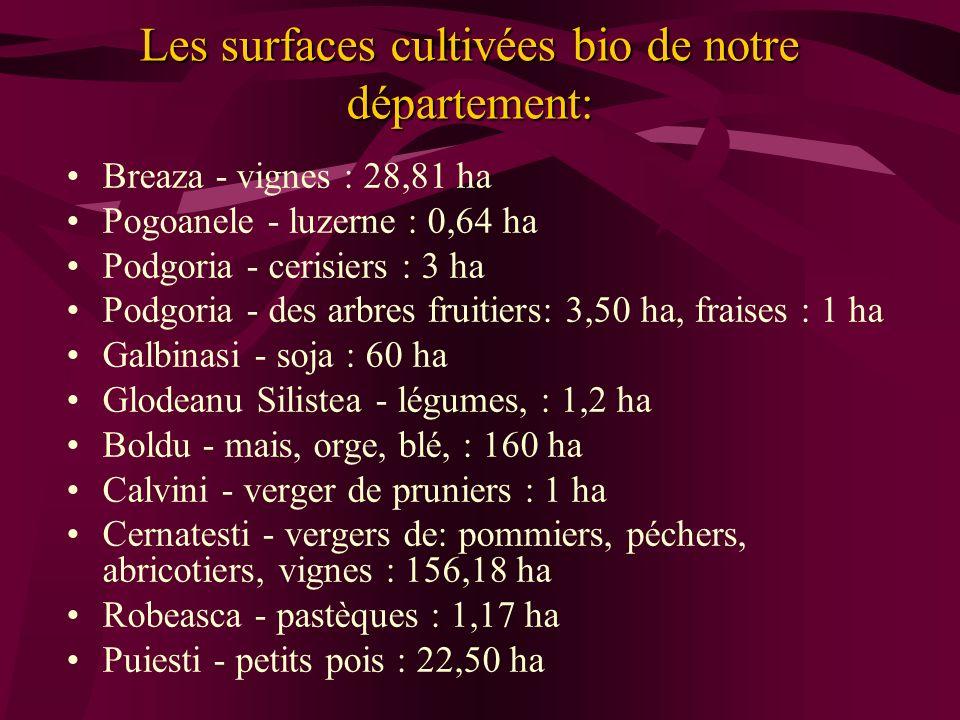 Les surfaces cultivées bio de notre département: Breaza - vignes : 28,81 ha Pogoanele - luzerne : 0,64 ha Podgoria - cerisiers : 3 ha Podgoria - des a