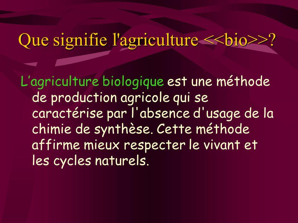 Que signifie l'agriculture >? Lagriculture biologique est une méthode de production agricole qui se caractérise par l'absence d'usage de la chimie de