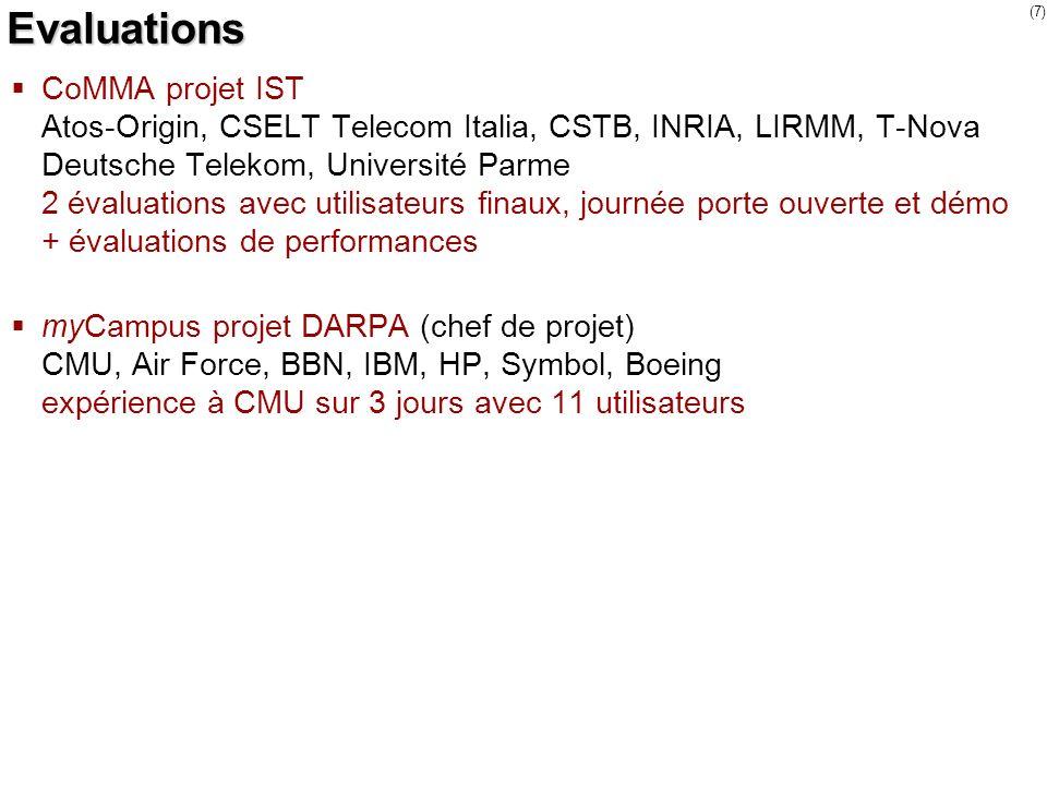(7) Evaluations CoMMA projet IST Atos-Origin, CSELT Telecom Italia, CSTB, INRIA, LIRMM, T-Nova Deutsche Telekom, Université Parme 2 évaluations avec u