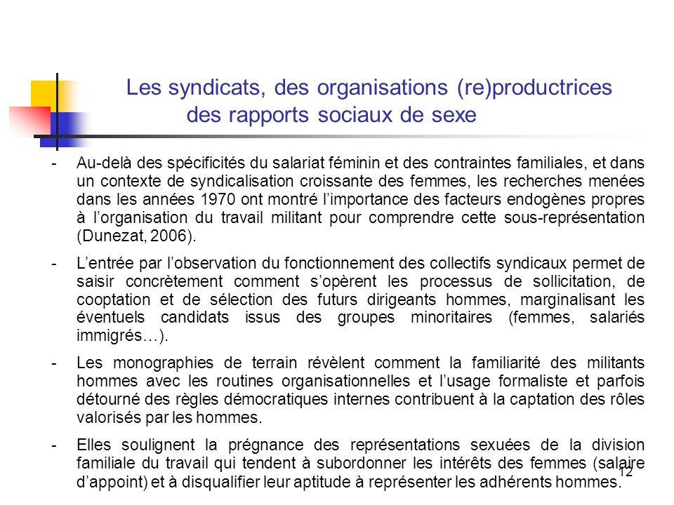 12 Les syndicats, des organisations (re)productrices des rapports sociaux de sexe -Au-delà des spécificités du salariat féminin et des contraintes familiales, et dans un contexte de syndicalisation croissante des femmes, les recherches menées dans les années 1970 ont montré limportance des facteurs endogènes propres à lorganisation du travail militant pour comprendre cette sous-représentation (Dunezat, 2006).