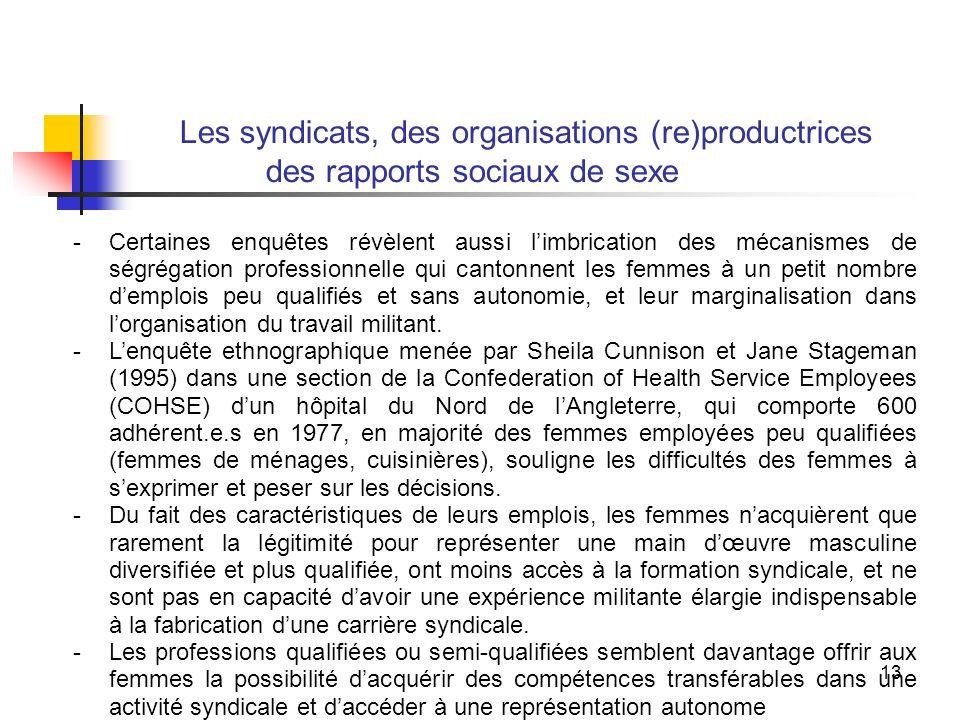 13 Les syndicats, des organisations (re)productrices des rapports sociaux de sexe -Certaines enquêtes révèlent aussi limbrication des mécanismes de ségrégation professionnelle qui cantonnent les femmes à un petit nombre demplois peu qualifiés et sans autonomie, et leur marginalisation dans lorganisation du travail militant.