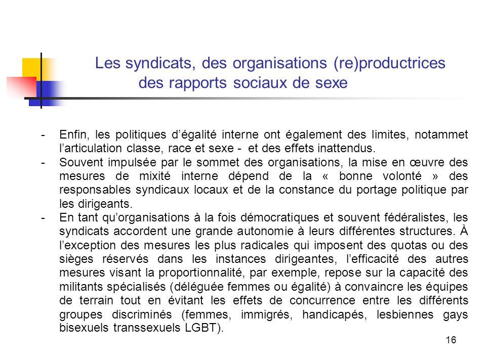 16 Les syndicats, des organisations (re)productrices des rapports sociaux de sexe -Enfin, les politiques dégalité interne ont également des limites, notammet larticulation classe, race et sexe - et des effets inattendus.