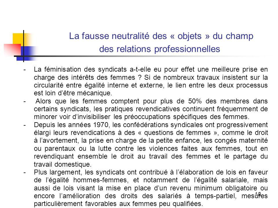 18 La fausse neutralité des « objets » du champ des relations professionnelles -La féminisation des syndicats a-t-elle eu pour effet une meilleure prise en charge des intérêts des femmes .