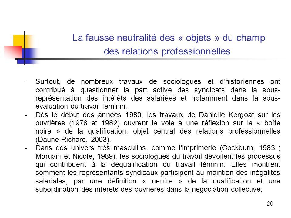 20 La fausse neutralité des « objets » du champ des relations professionnelles -Surtout, de nombreux travaux de sociologues et dhistoriennes ont contribué à questionner la part active des syndicats dans la sous- représentation des intérêts des salariées et notamment dans la sous- évaluation du travail féminin.