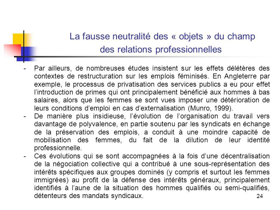 24 La fausse neutralité des « objets » du champ des relations professionnelles -Par ailleurs, de nombreuses études insistent sur les effets délétères des contextes de restructuration sur les emplois féminisés.