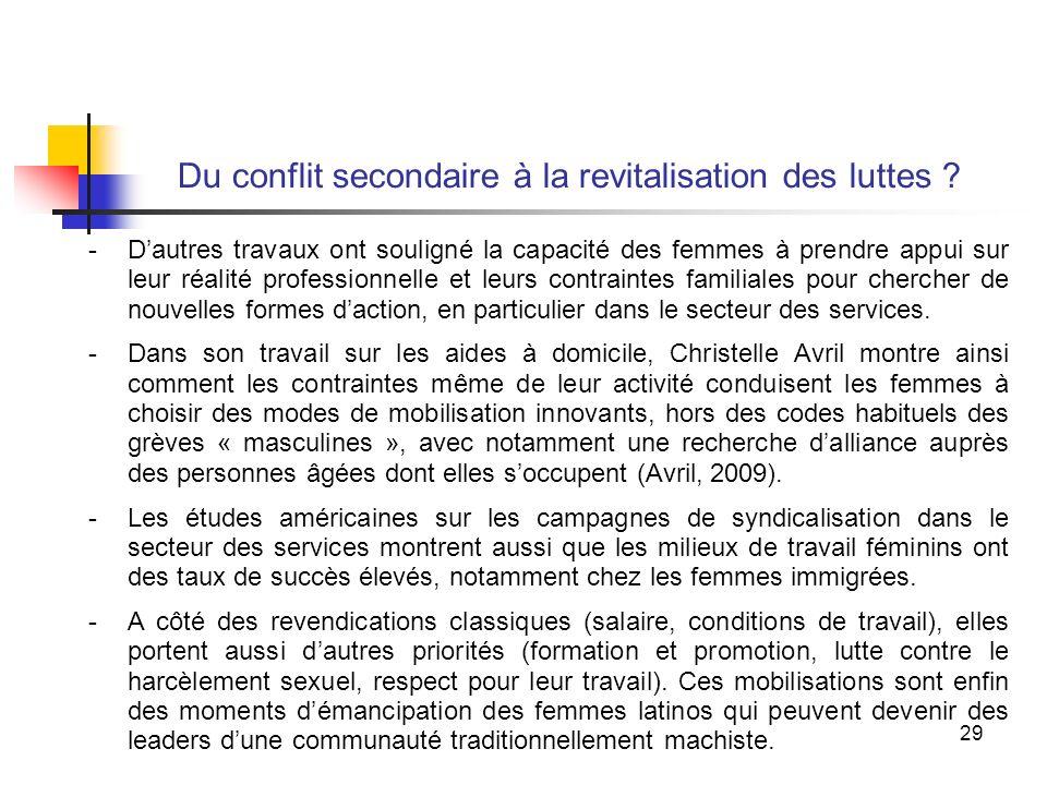 29 Du conflit secondaire à la revitalisation des luttes .