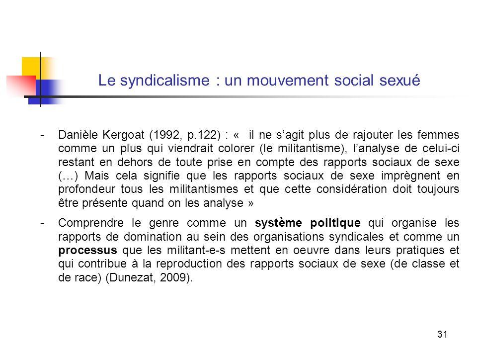 31 Le syndicalisme : un mouvement social sexué -Danièle Kergoat (1992, p.122) : « il ne sagit plus de rajouter les femmes comme un plus qui viendrait colorer (le militantisme), lanalyse de celui-ci restant en dehors de toute prise en compte des rapports sociaux de sexe (…) Mais cela signifie que les rapports sociaux de sexe imprègnent en profondeur tous les militantismes et que cette considération doit toujours être présente quand on les analyse » -Comprendre le genre comme un système politique qui organise les rapports de domination au sein des organisations syndicales et comme un processus que les militant-e-s mettent en oeuvre dans leurs pratiques et qui contribue à la reproduction des rapports sociaux de sexe (de classe et de race) (Dunezat, 2009).
