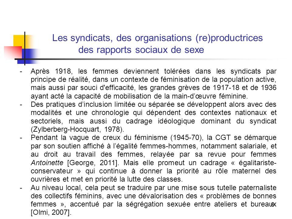 6 Les syndicats, des organisations (re)productrices des rapports sociaux de sexe -Après 1918, les femmes deviennent tolérées dans les syndicats par principe de réalité, dans un contexte de féminisation de la population active, mais aussi par souci d efficacité, les grandes grèves de 1917-18 et de 1936 ayant acté la capacité de mobilisation de la main-dœuvre féminine.