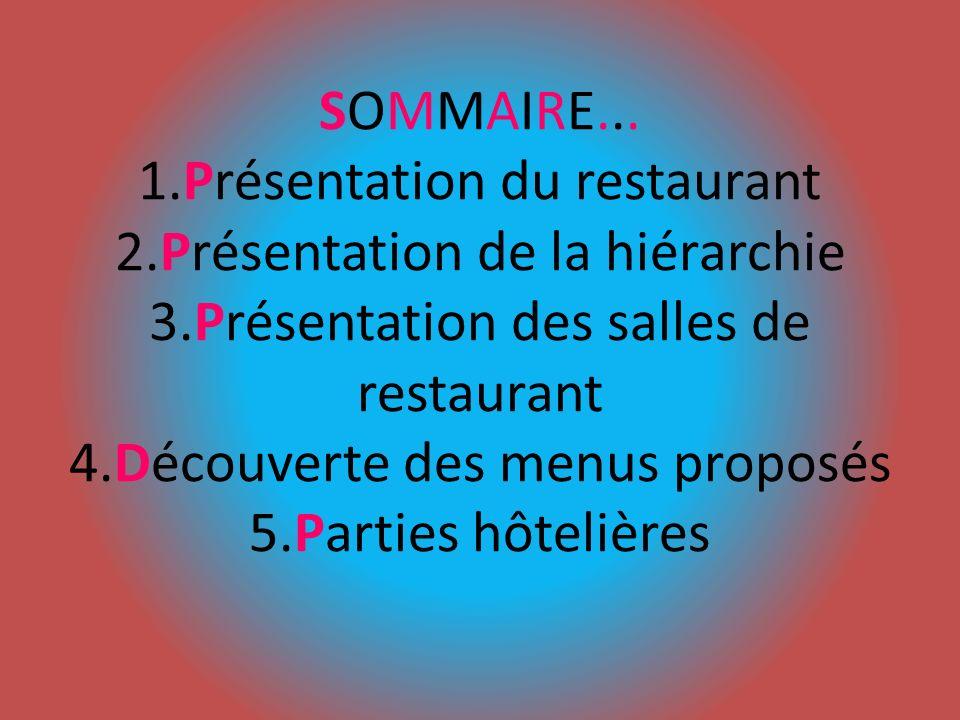 SOMMAIRE... 1.Présentation du restaurant 2.Présentation de la hiérarchie 3.Présentation des salles de restaurant 4.Découverte des menus proposés 5.Par