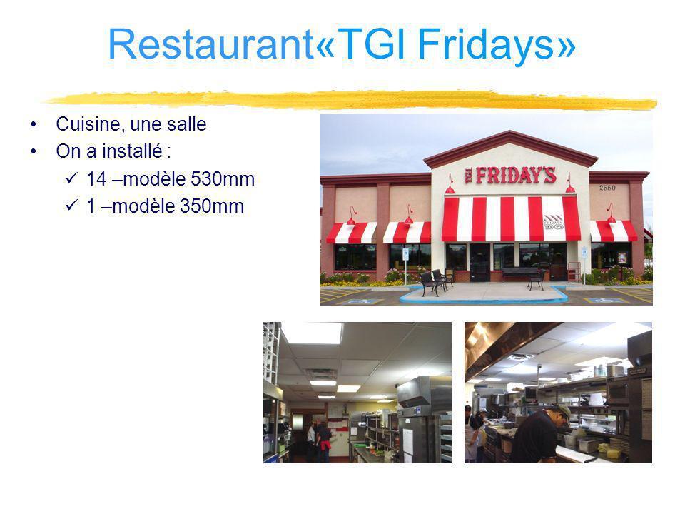 Cuisine, une salle On a installé : 14 –modèle 530mm 1 –modèle 350mm Restaurant«TGI Fridays»