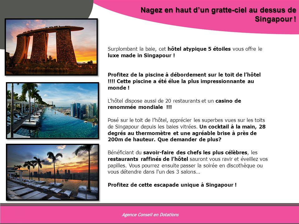 9 Nagez en haut dun gratte-ciel au dessus de Singapour ! Surplombant la baie, cet hôtel atypique 5 étoiles vous offre le luxe made in Singapour ! Prof