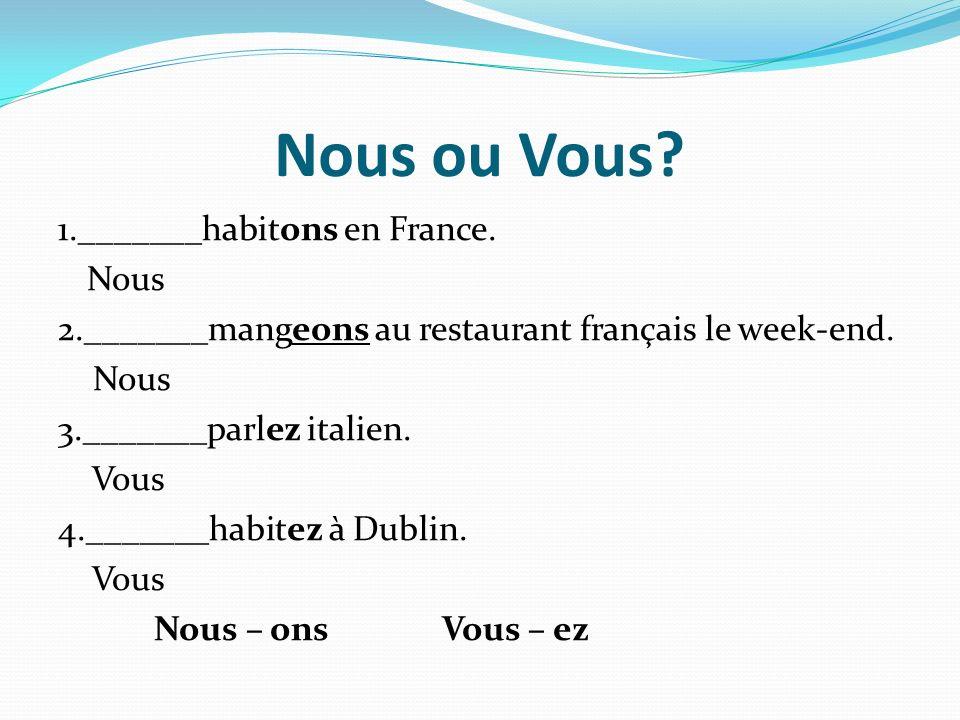 Nous ou Vous. 1._______habitons en France.