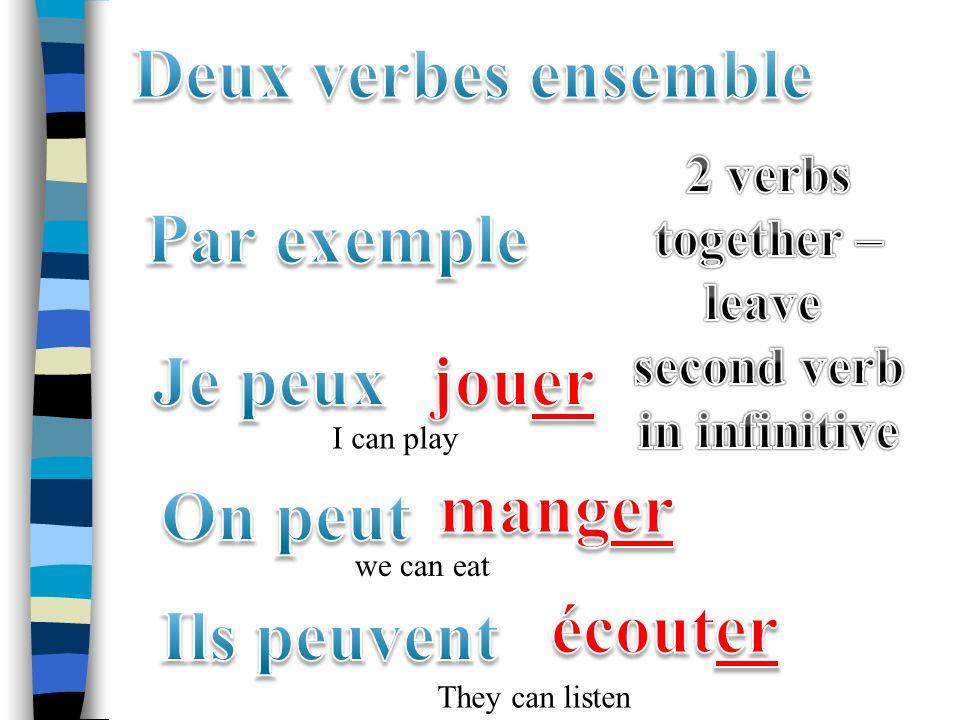Objectifs: 1.Utiliser les verbes irréguliers pouvoir, vouloir et devoir 2. Utiliser deux verbes ensemble