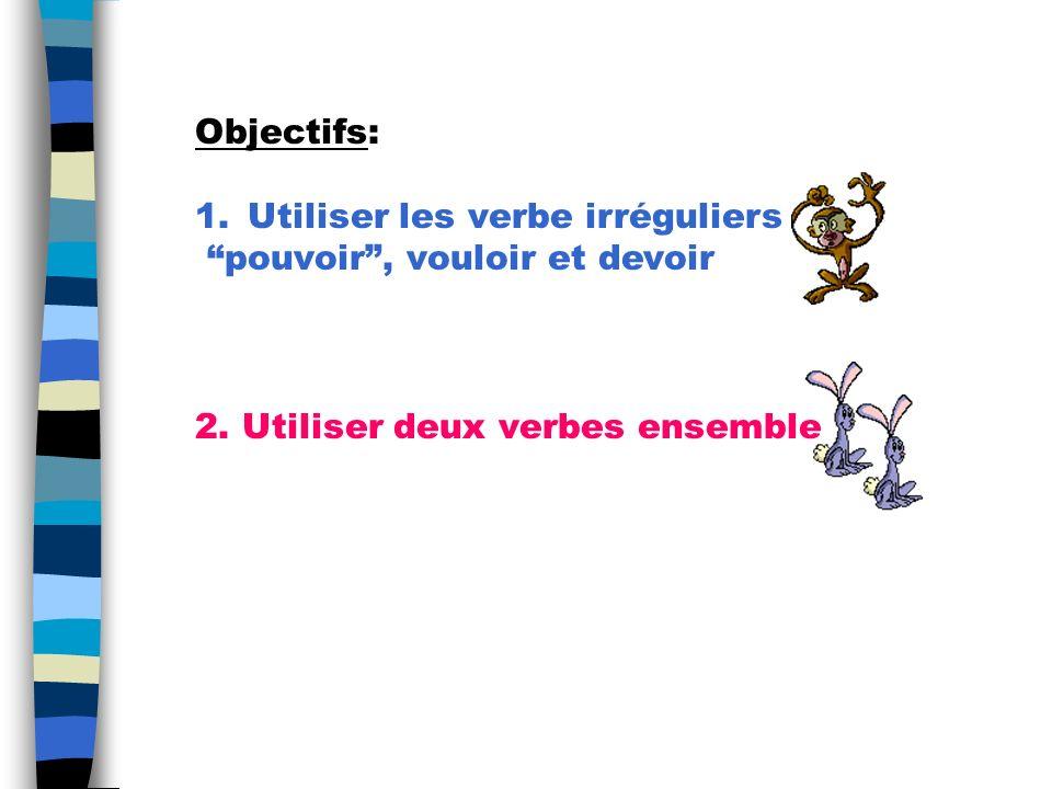 Objectifs: 1.Utiliser les verbe irréguliers pouvoir, vouloir et devoir 2.