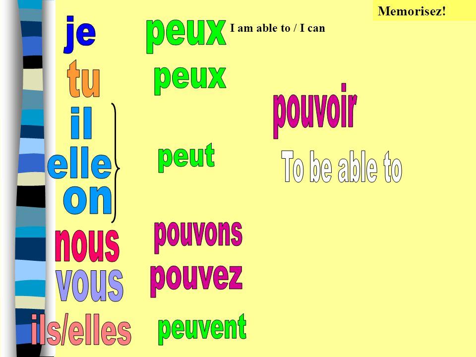 Objectifs: 1.Utiliser les verbe irréguliers pouvoir, vouloir et devoir 2. Utiliser deux verbes ensemble