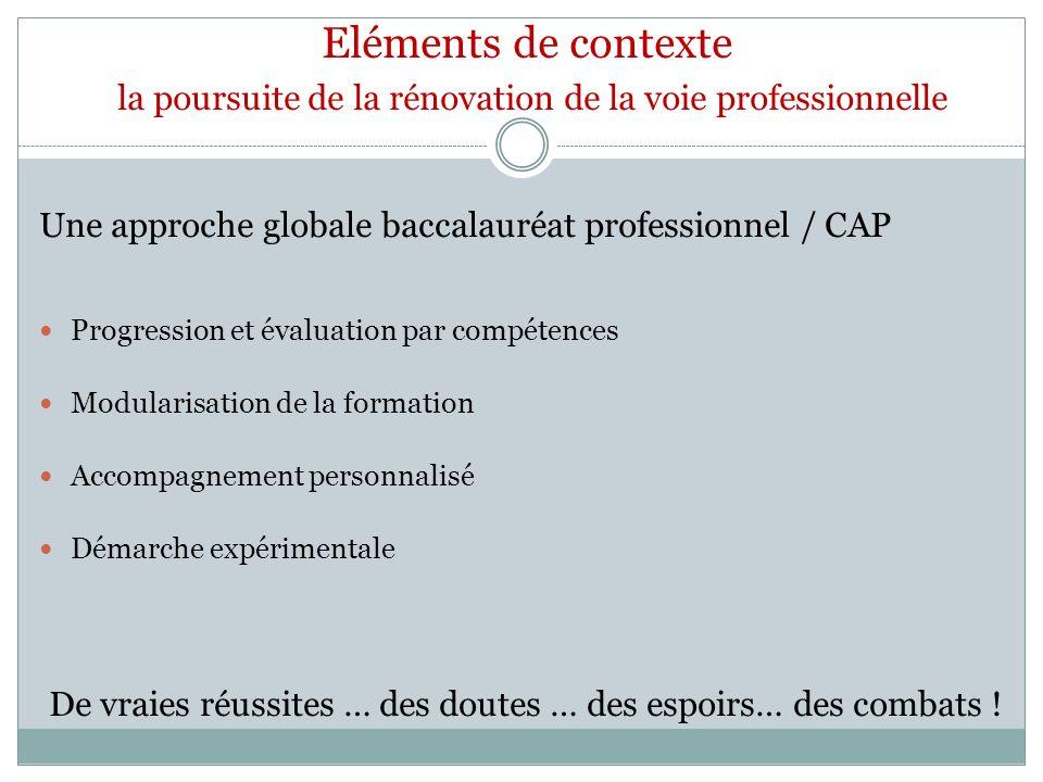 Eléments de contexte la poursuite de la rénovation de la voie professionnelle Une approche globale baccalauréat professionnel / CAP Progression et éva
