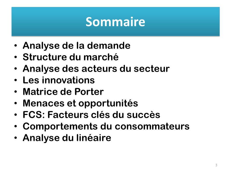 Sommaire Analyse de la demande Structure du marché Analyse des acteurs du secteur Les innovations Matrice de Porter Menaces et opportunités FCS: Facte