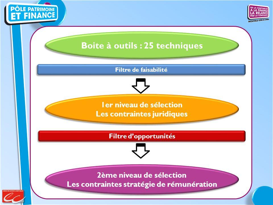 Boite à outils : 25 techniques Filtre de faisabilité Filtre dopportunités 1er niveau de sélection Les contraintes juridiques 1er niveau de sélection L
