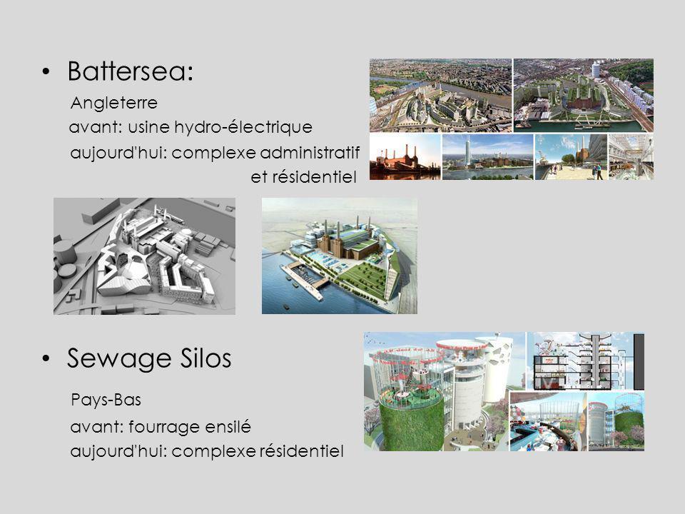 Battersea : Angleterre avant: usine hydro-électrique aujourd'hui: complexe administratif et résidentiel Sewage Silos Pays-Bas avant: fourrage ensilé a