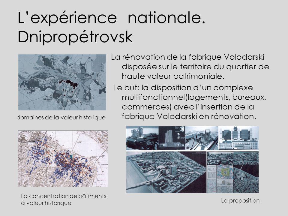Lexpérience nationale. Dnipropétrovsk La rénovation de la fabrique Volodarski disposée sur le territoire du quartier de haute valeur patrimoniale. Le
