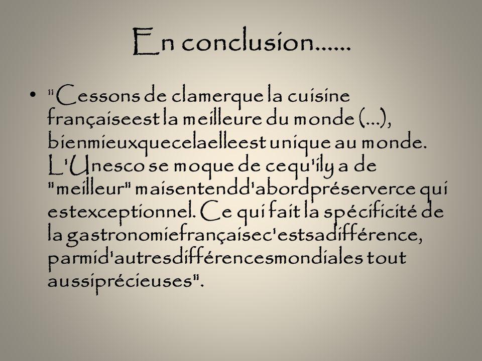En conclusion……