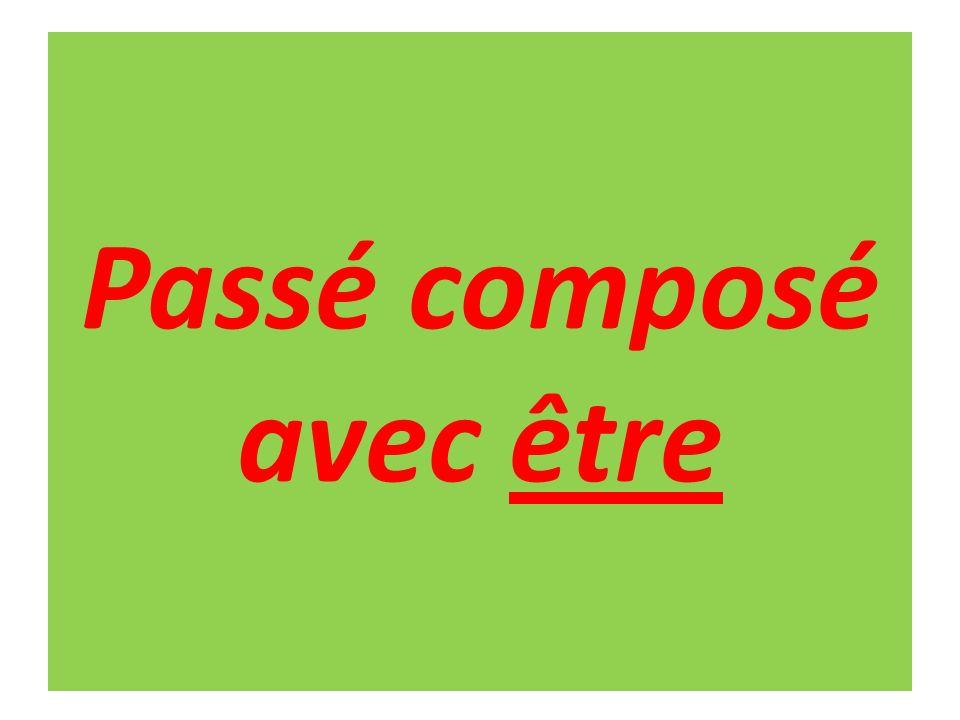 Perfect tense – passé composé When to use être / avoir as auxiliary.