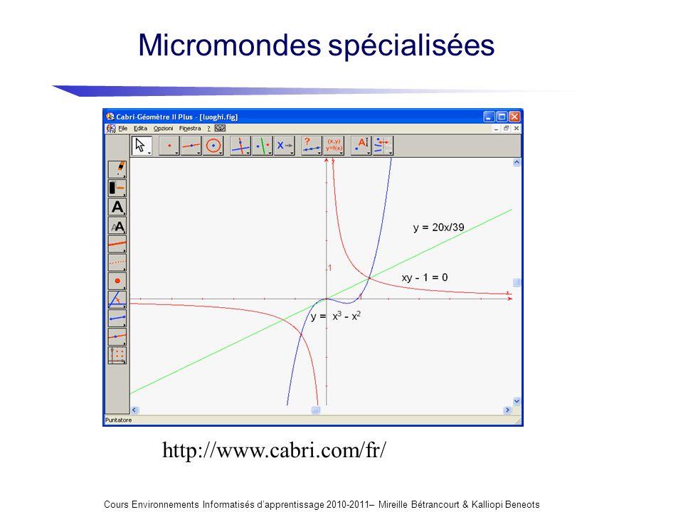 http://www.cabri.com/fr/ Micromondes spécialisées Cours Environnements Informatisés dapprentissage 2010-2011– Mireille Bétrancourt & Kalliopi Beneots