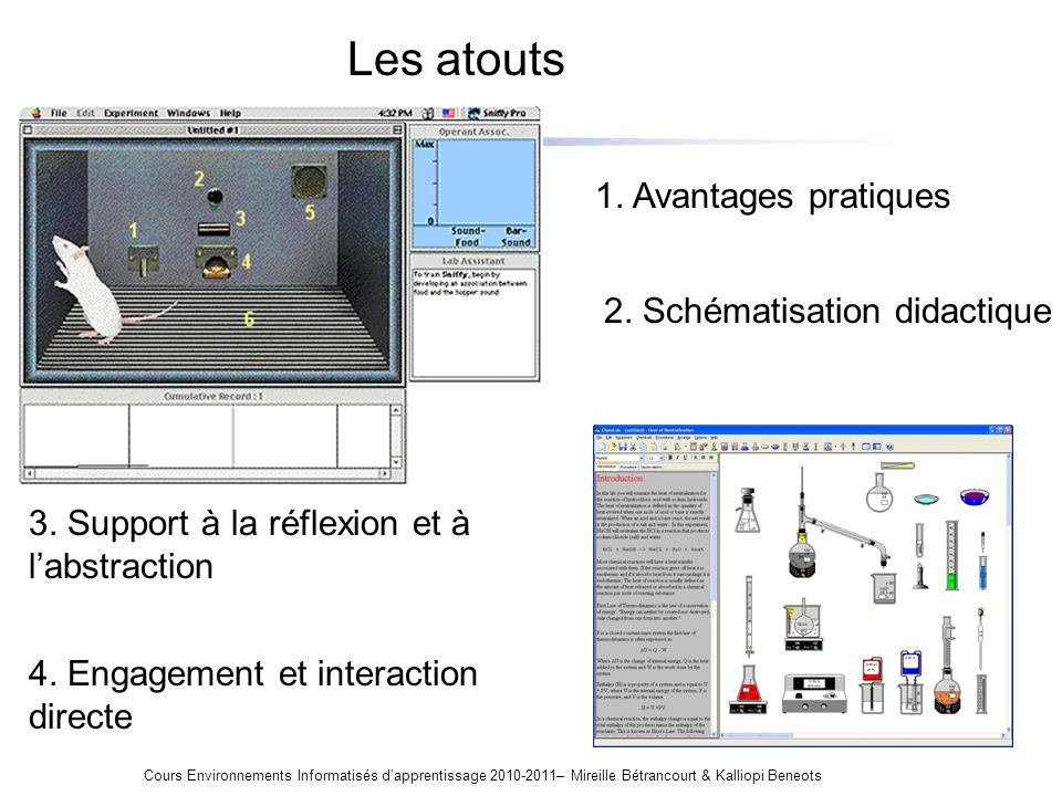 Les atouts Cours Environnements Informatisés dapprentissage 2010-2011– Mireille Bétrancourt & Kalliopi Beneots 1. Avantages pratiques 2. Schématisatio