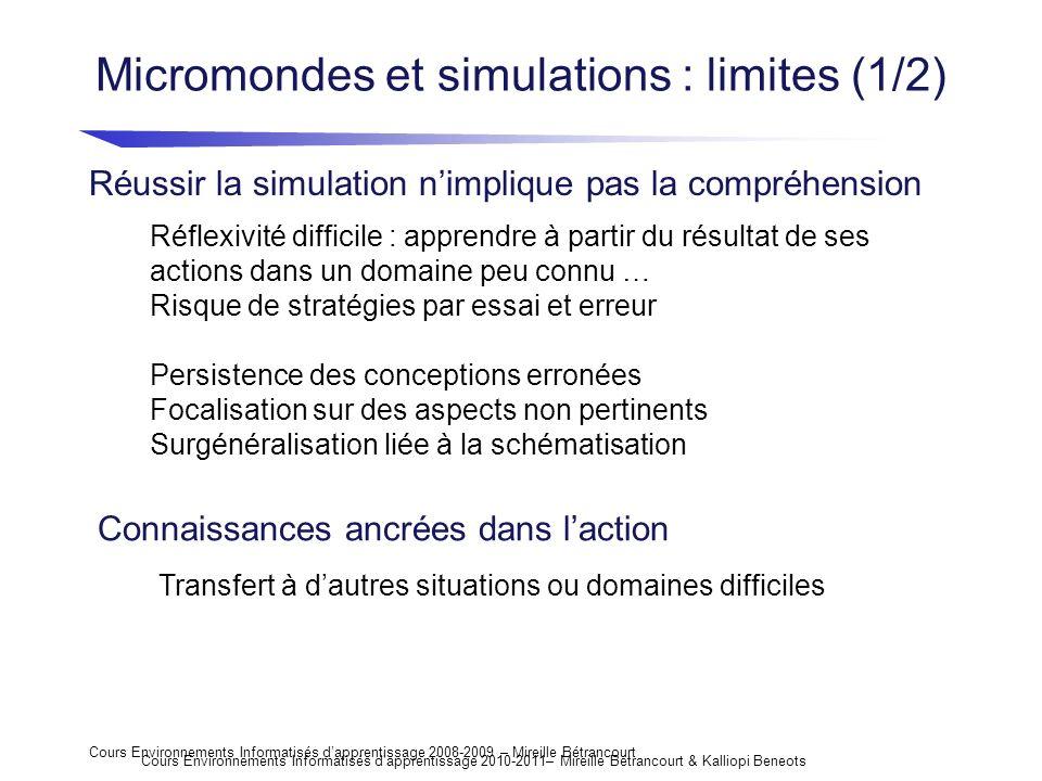 Cours Environnements Informatisés dapprentissage 2008-2009 – Mireille Bétrancourt Micromondes et simulations : limites (1/2) Réussir la simulation nim