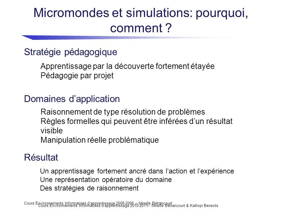 Cours Environnements Informatisés dapprentissage 2008-2009 – Mireille Bétrancourt Micromondes et simulations: pourquoi, comment ? Domaines dapplicatio