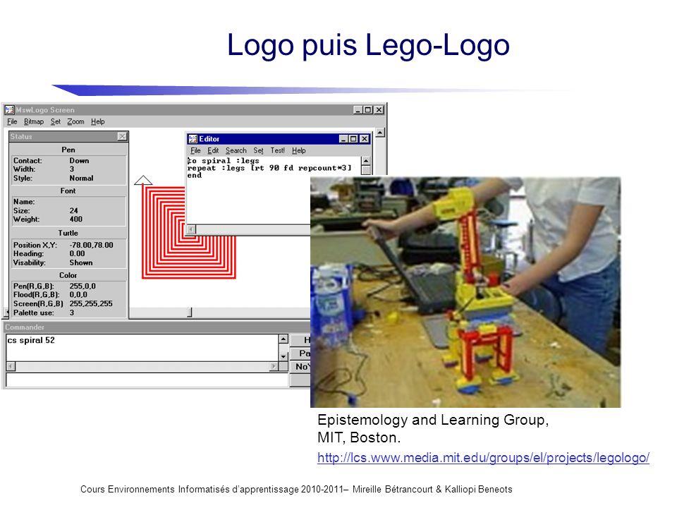 Logo puis Lego-Logo Cours Environnements Informatisés dapprentissage 2010-2011– Mireille Bétrancourt & Kalliopi Beneots http://lcs.www.media.mit.edu/g