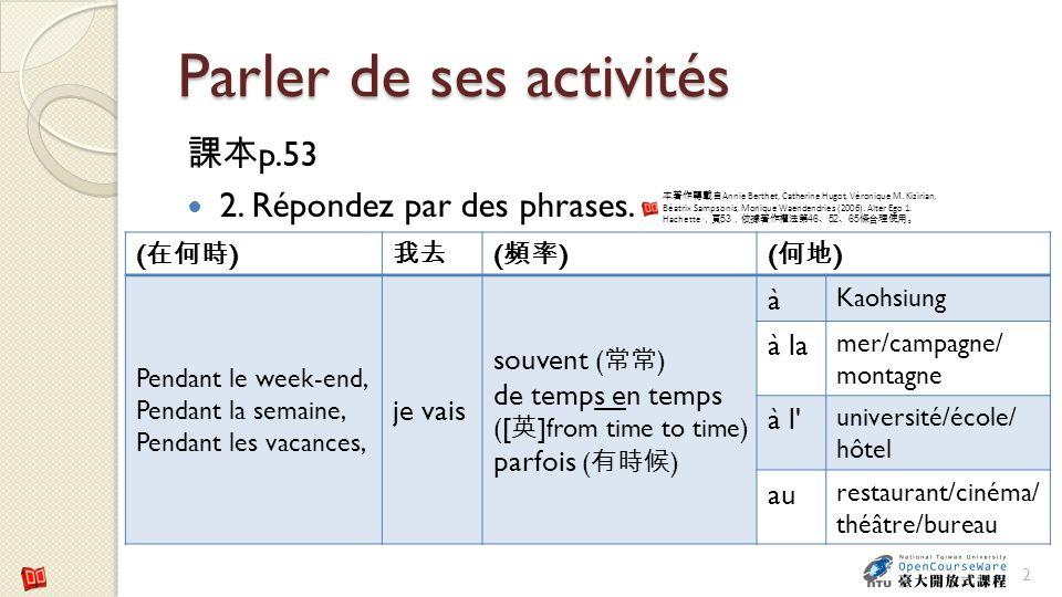 Parler de ses activités p.53 2. Répondez par des phrases. 2 ( ) ( ) Pendant le week-end, Pendant la semaine, Pendant les vacances, je vais souvent ( )