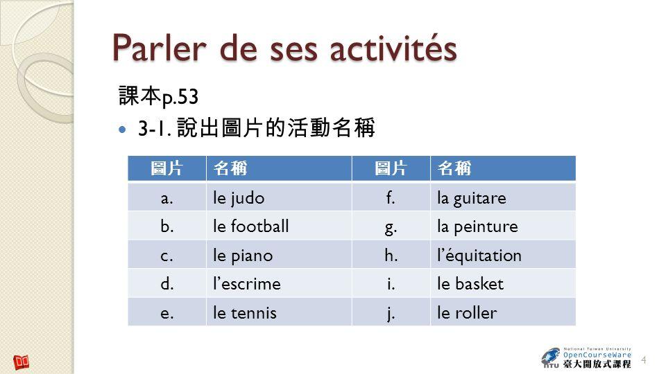 Parler de ses activités p.53 3-1. 4 a.le judof.la guitare b.le footballg.la peinture c.le pianoh.léquitation d.lescrimei.le basket e.le tennisj.le rol