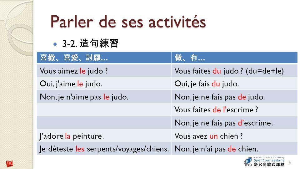 Parler de ses activités 3-2. 6 … … Vous aimez le judo ?Vous faites du judo ? (du=de+le) Oui, j'aime le judo.Oui, je fais du judo. Non, je n'aime pas l