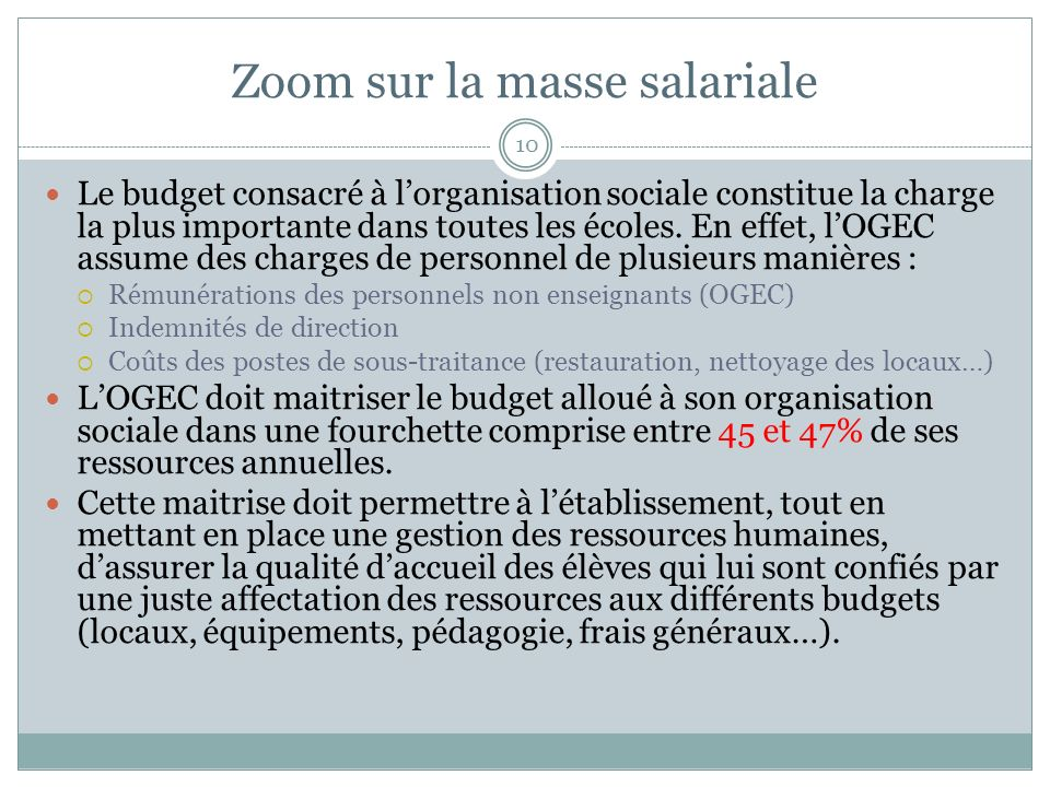 Zoom sur la masse salariale 10 Le budget consacré à lorganisation sociale constitue la charge la plus importante dans toutes les écoles. En effet, lOG