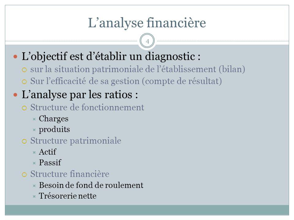 4 Lobjectif est détablir un diagnostic : sur la situation patrimoniale de létablissement (bilan) Sur lefficacité de sa gestion (compte de résultat) La