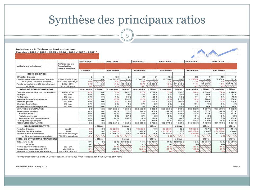 Synthèse des principaux ratios 5
