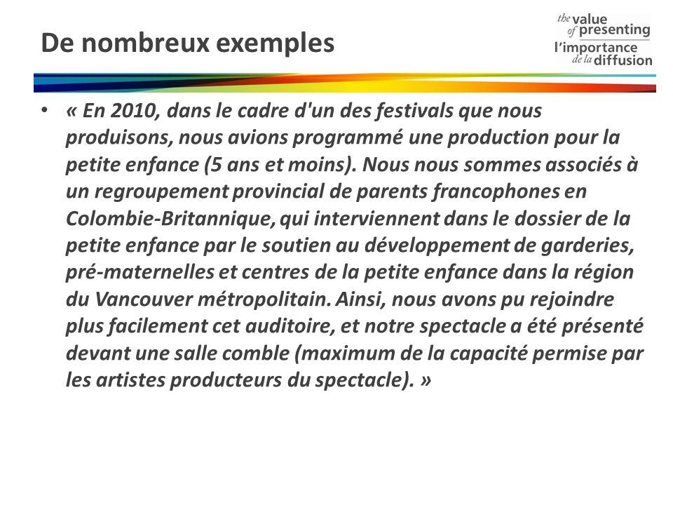 De nombreux exemples « En 2010, dans le cadre d'un des festivals que nous produisons, nous avions programmé une production pour la petite enfance (5 a